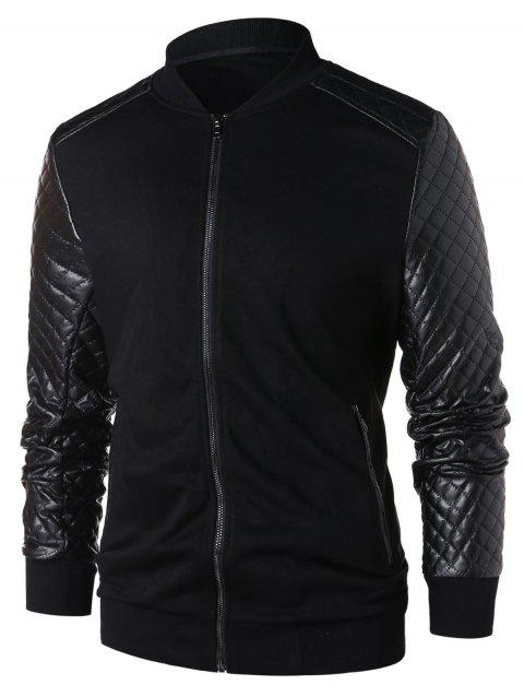 PU Leather Panel Zip Up Jacket - BLACK 2XL