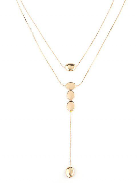 Layered Alloy Round Long Pendant Necklace - GOLD