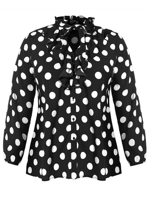 Ruffle Trim Plus Size Polka Dot Blouse - BLACK L