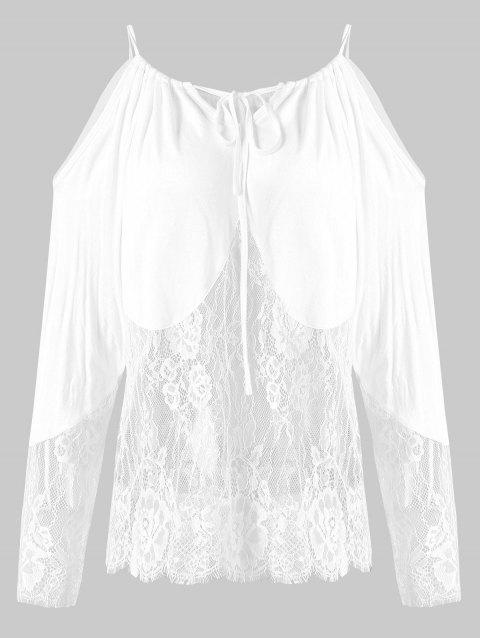 Plus Size Cold Shoulder See Through Lace Cropped Top - WHITE L