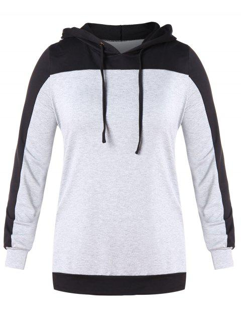 Plus Size Contrast Long Sleeve Drawstring Hoodie - LIGHT GRAY L