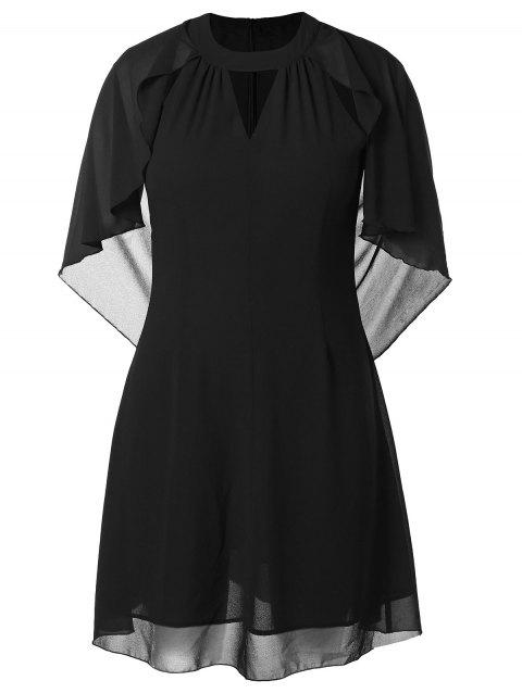 Plus Size Solid Color Cut Out Batwing Sleeve Dress - BLACK 2X