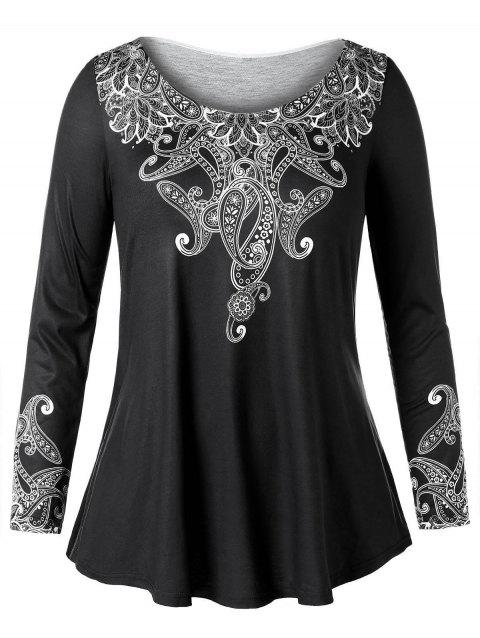 Plus Size Long Sleeve Ethnic Print T-shirt - BLACK 3X