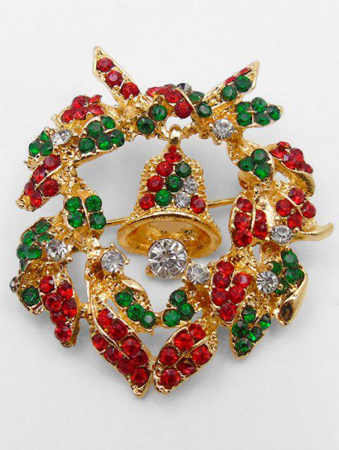 Christmas Garland Bell Shape Brooch - GOLD