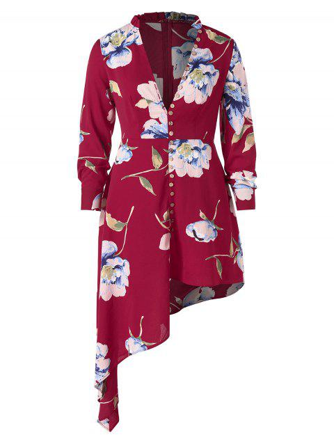 Plus Size Floral Print Plunging Neck Asymmetrical Dress - RED WINE 1X