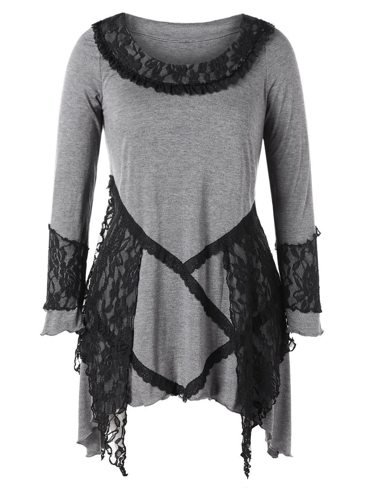 Plus Size Lace Splicing Handkerchief Dress - DARK GRAY 3X