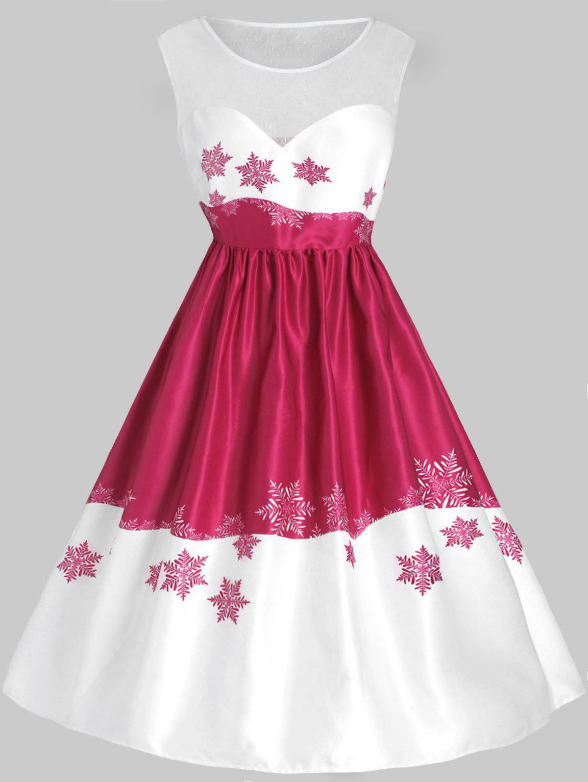 Plus Size Mesh Panel Snowflake Christmas Vintage Dress