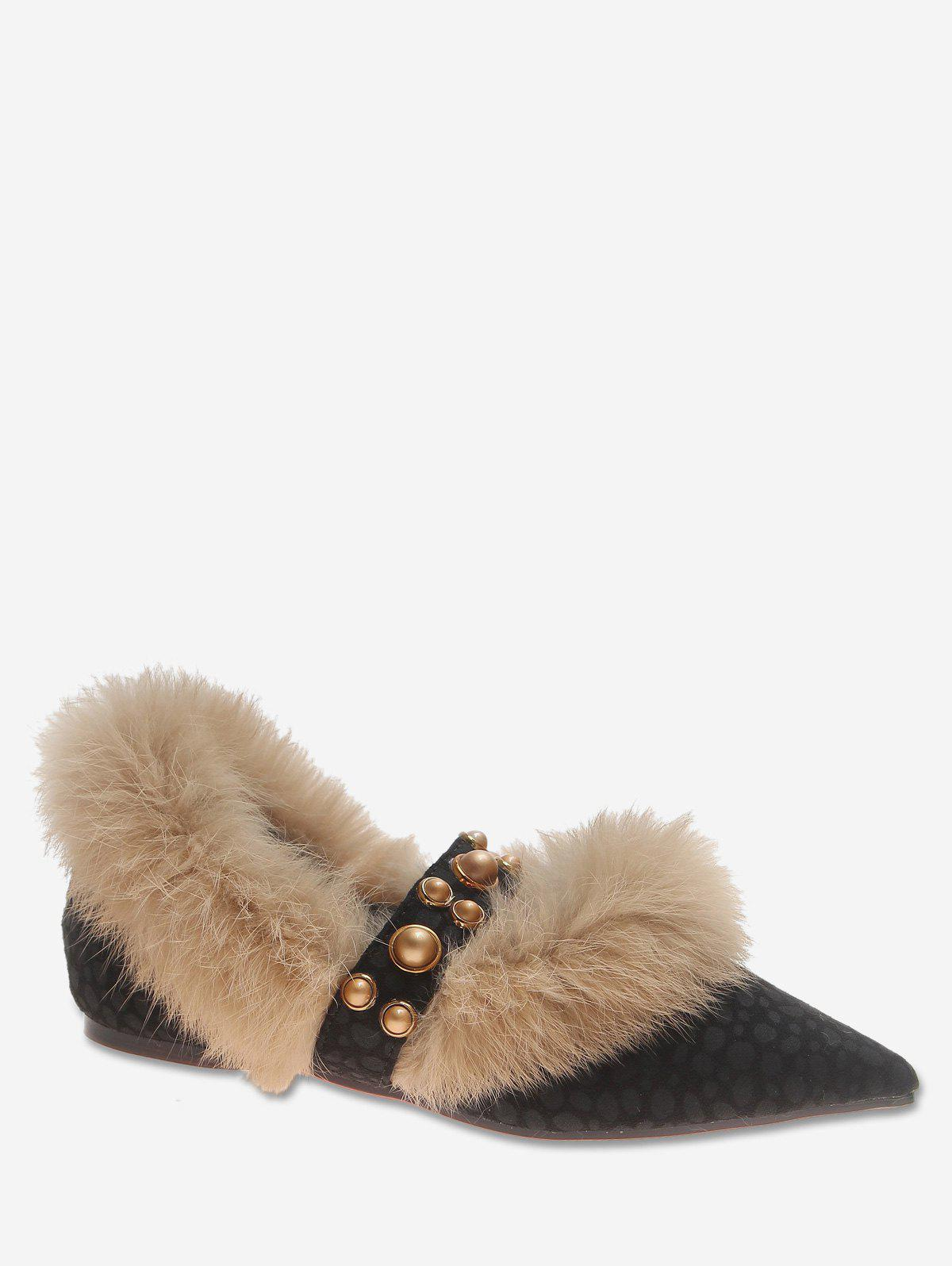 Pointed Toe Leopard Print Fuzzy Flats