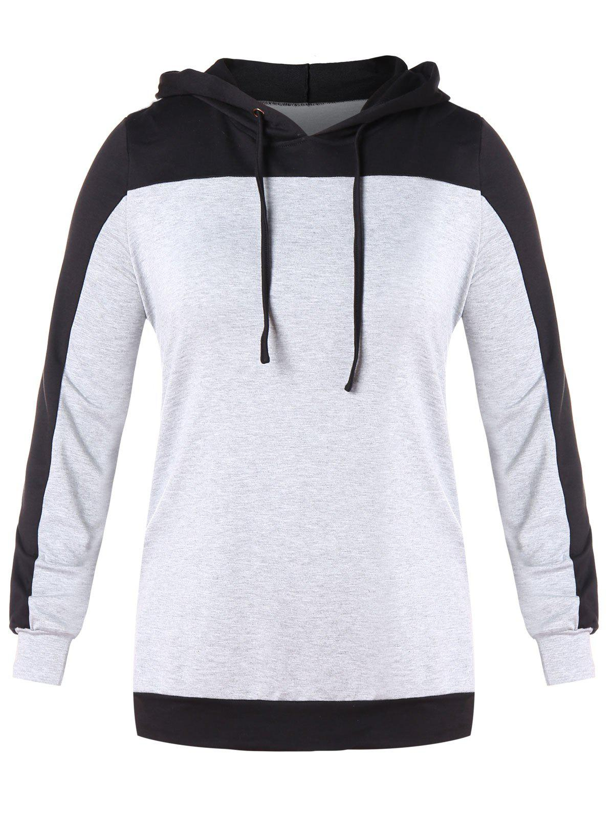 Plus Size Contrast Long Sleeve Drawstring Hoodie - LIGHT GRAY 2X