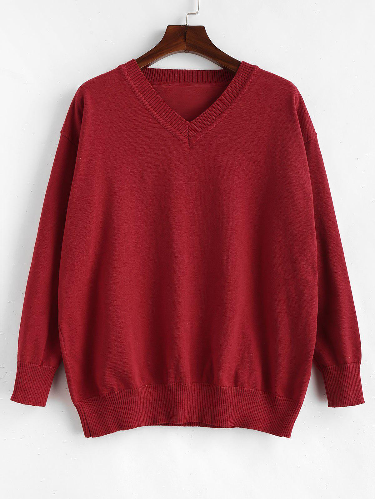 Long Sleeve Plus Size V Neck Pullover Sweater - RED WINE 1X