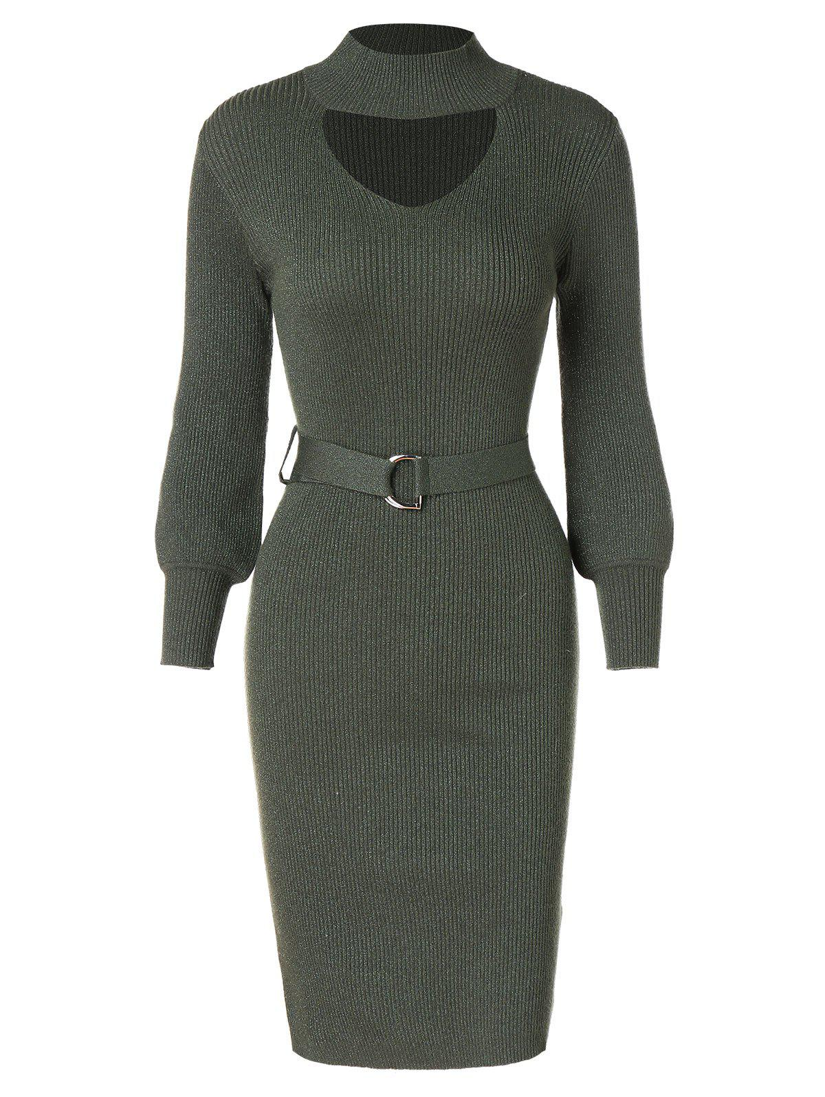 Sparkly Belted Bodycon Pencil Dress - ARMY GREEN L