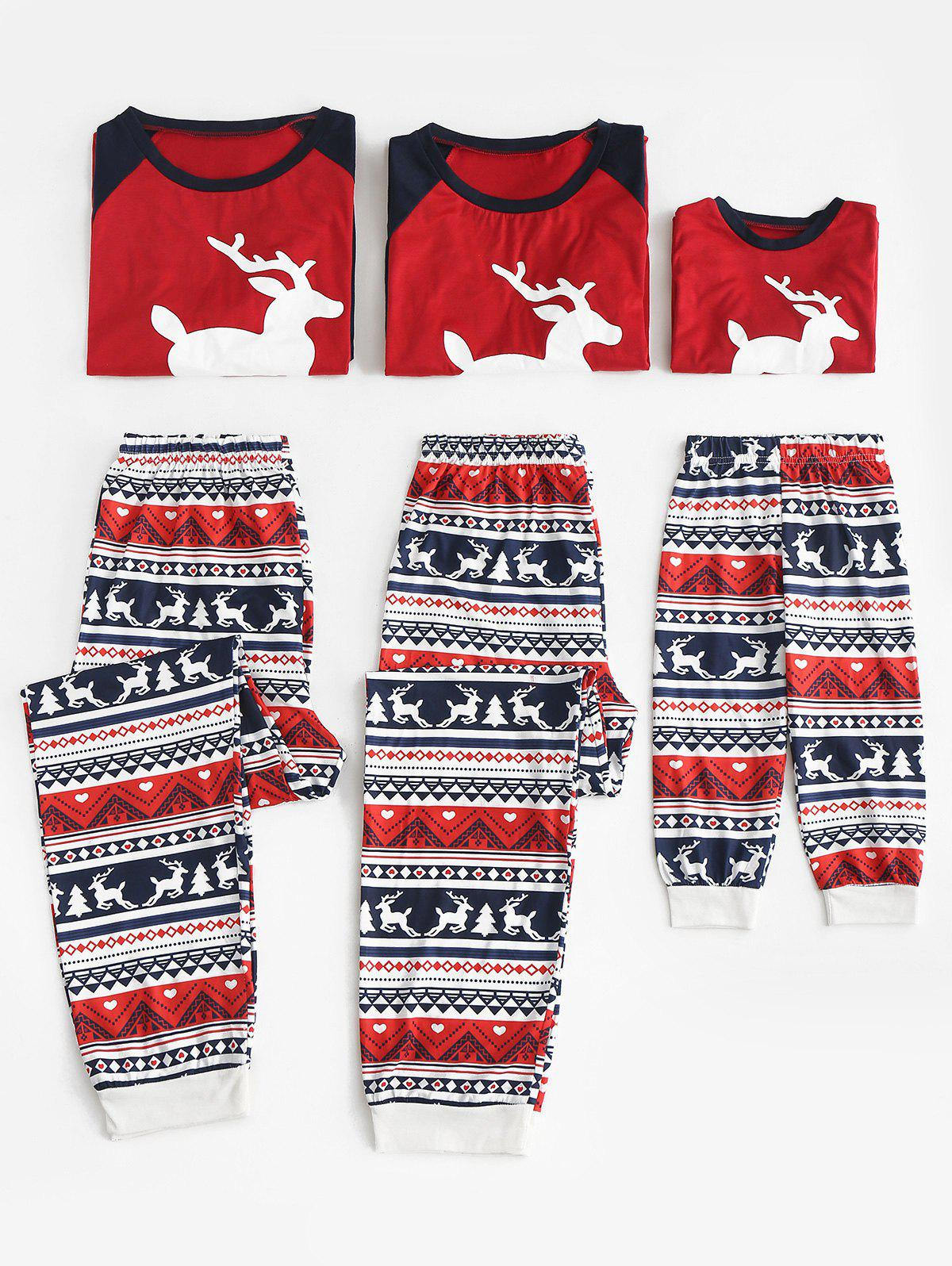Elk Print Matching Family Christmas Pajama Set - multicolor DAD M