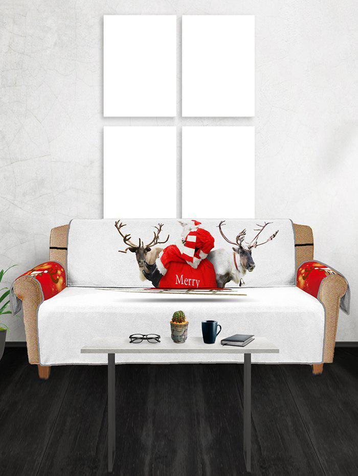 Christmas Elk Print Couch Cover - multicolor THREE SEATS