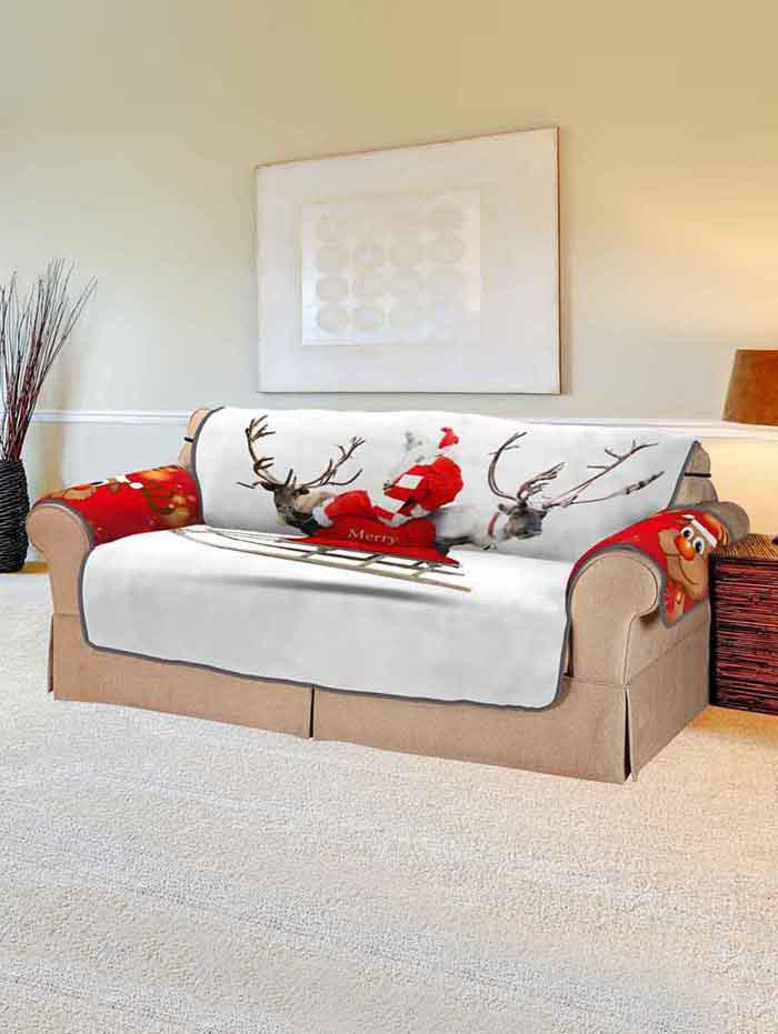 Christmas Elk Print Couch Cover - multicolor TWO SEATS