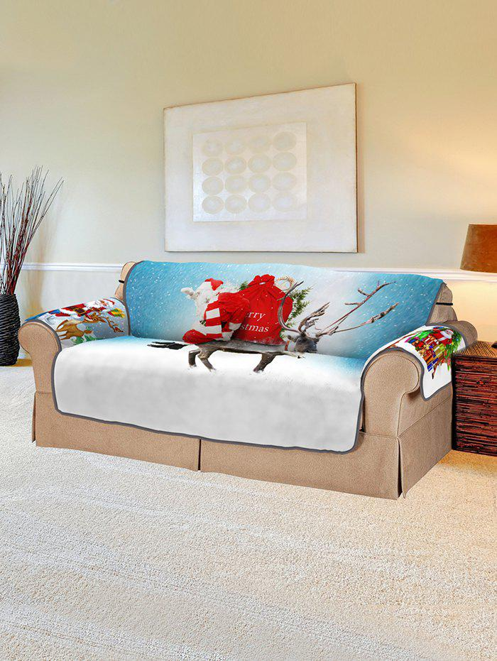 Christmas Santa Elk Pattern Couch Cover - multicolor TWO SEATS