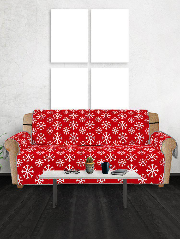 Christmas Snowflake Pattern Couch Cover - RED THREE SEATS