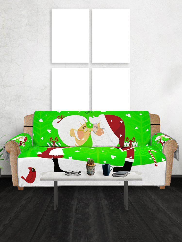 Christmas Santa Couple Pattern Couch Cover - multicolor THREE SEATS