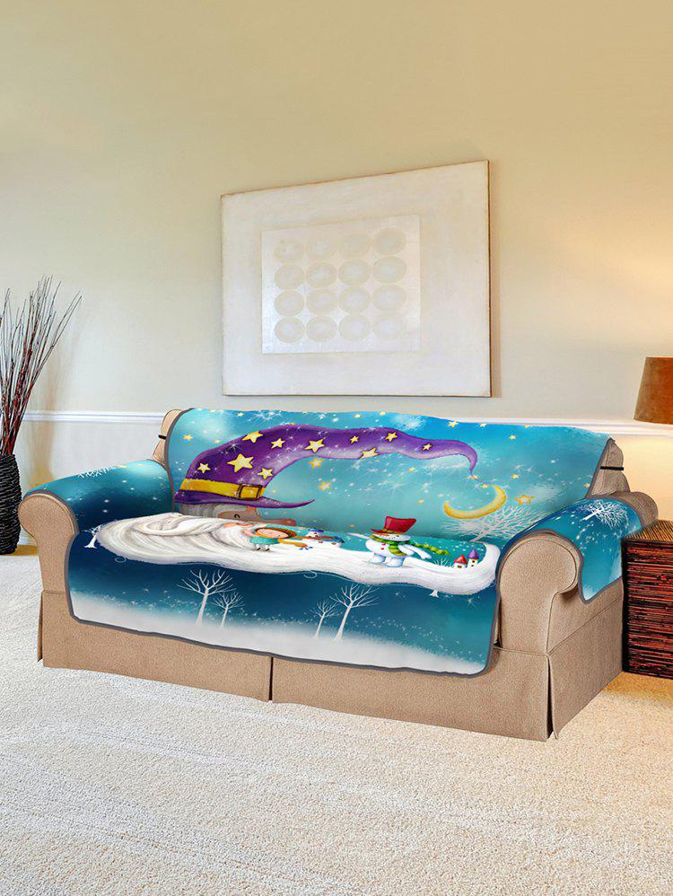 Christmas Snowmen Pattern Couch Cover - multicolor TWO SEATS