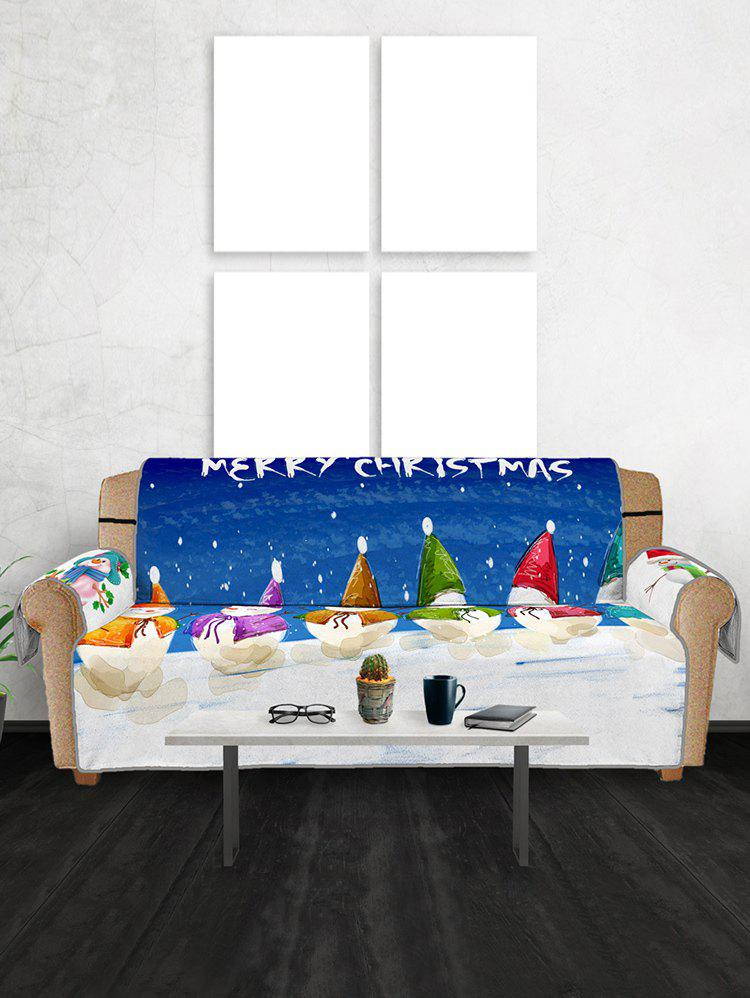 Christmas Snowman Pattern Couch Cover - multicolor THREE SEATS