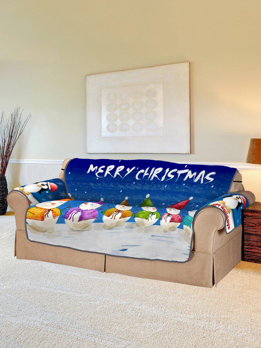 Christmas Snowman Pattern Couch Cover - multicolor TWO SEATS