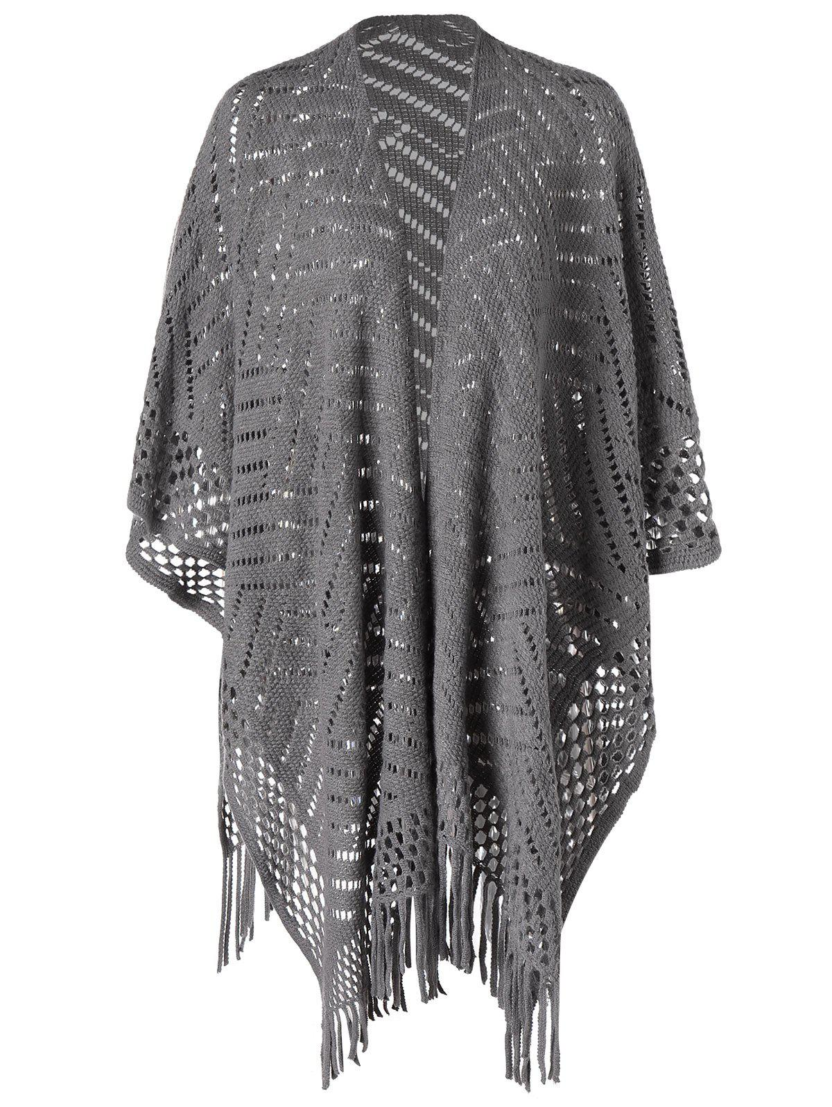 Knit Cape with Fringed