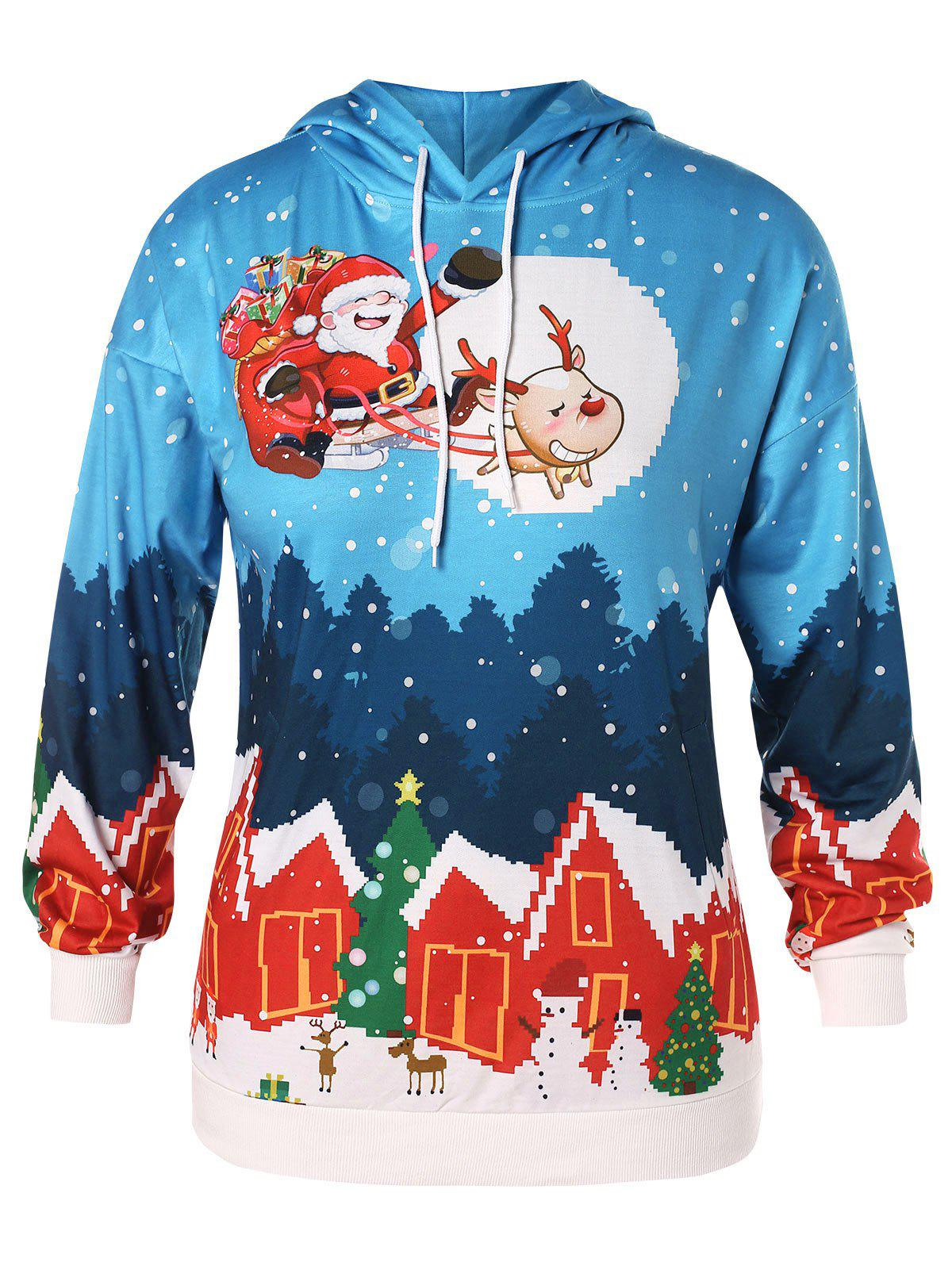 Christmas Plus Size House Santa Clause Print Hoodie