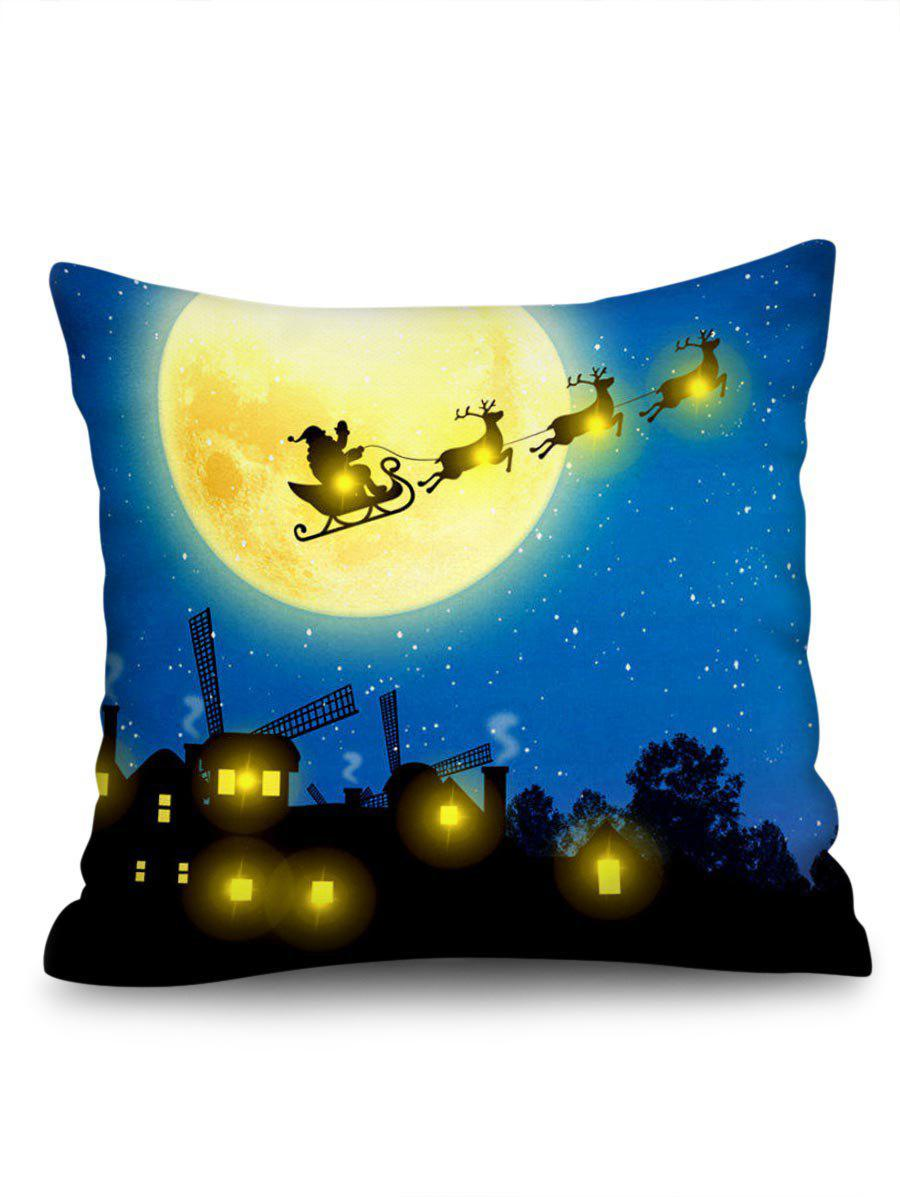 Christmas Moon Night Print LED Light Sofa Linen Pillowcase - multicolor W18 X L18 INCH