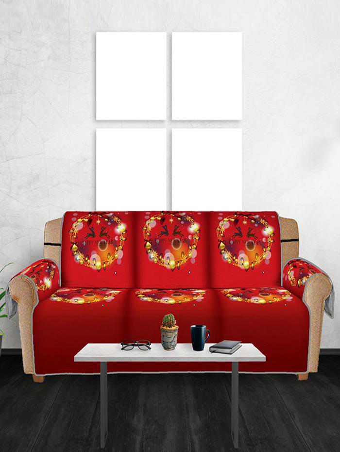 Christmas Ball Wreath Pattern Couch Cover - RED THREE SEATS