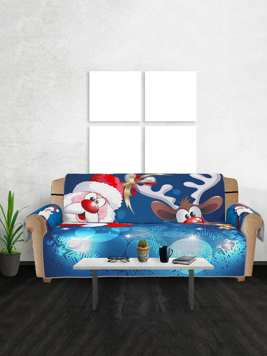 Christmas Santa Claus Elk Pattern Couch Cover - multicolor THREE SEATS