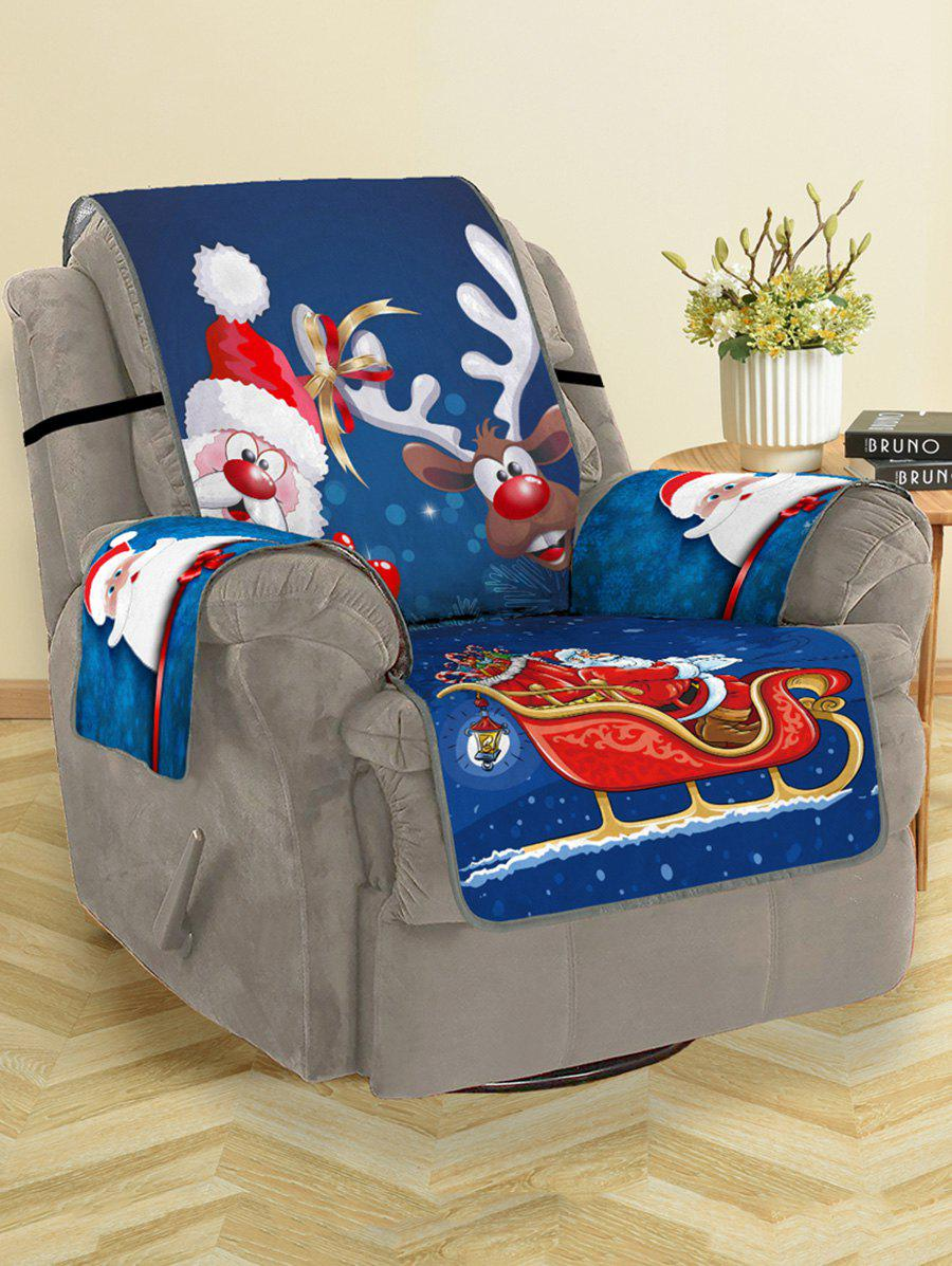 Christmas Santa Claus Elk Pattern Couch Cover - multicolor SINGLE SEAT