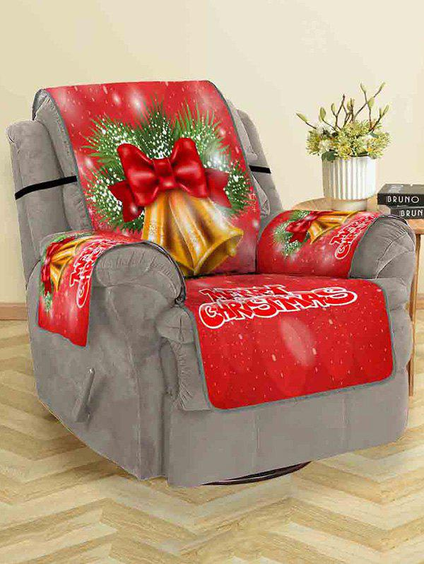 Christmas Bells Pattern Couch Cover - RED SINGLE SEAT