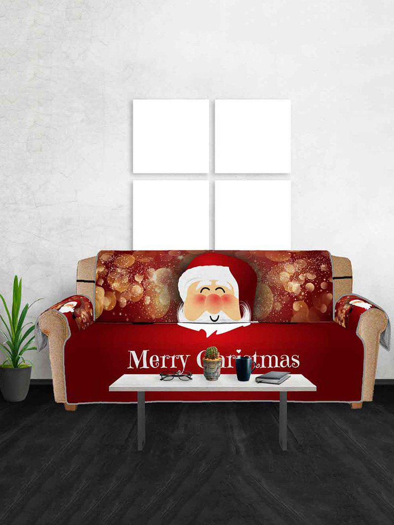 Christmas Santa Claus Pattern Sofa Cover - multicolor THREE SEATS