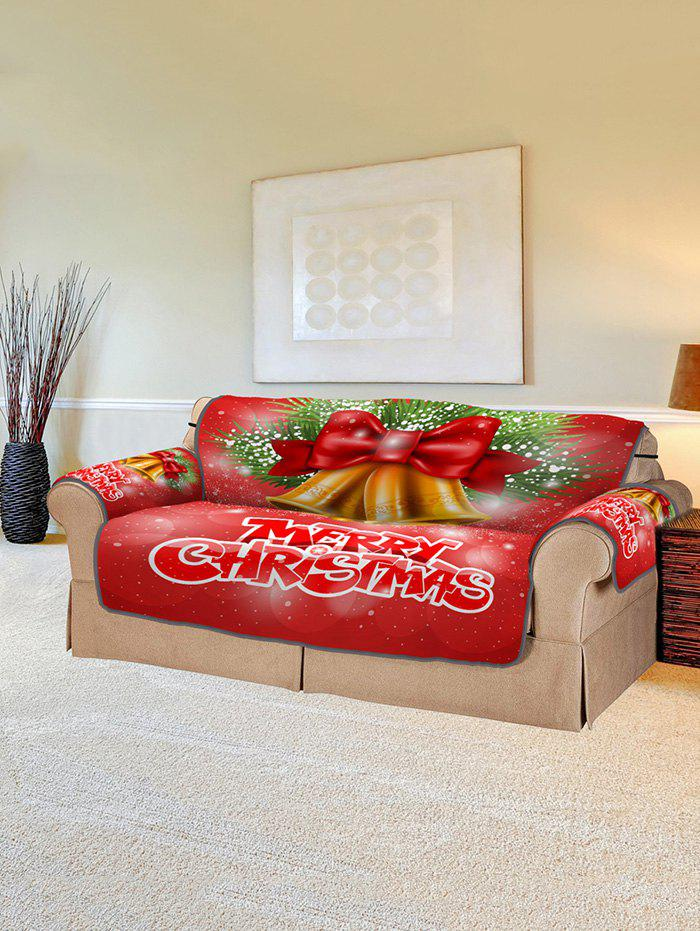 Christmas Bells Pattern Couch Cover - RED TWO SEATS