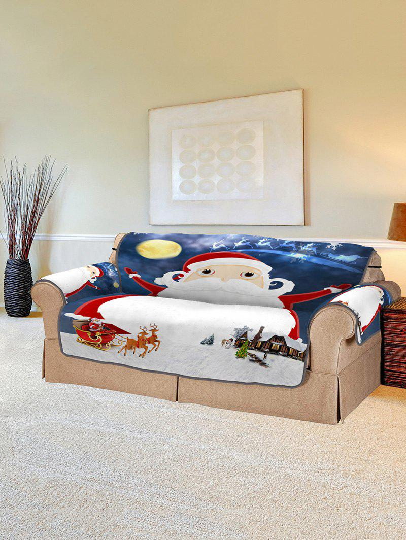 Christmas Night Santa Claus Print Couch Cover - multicolor TWO SEATS