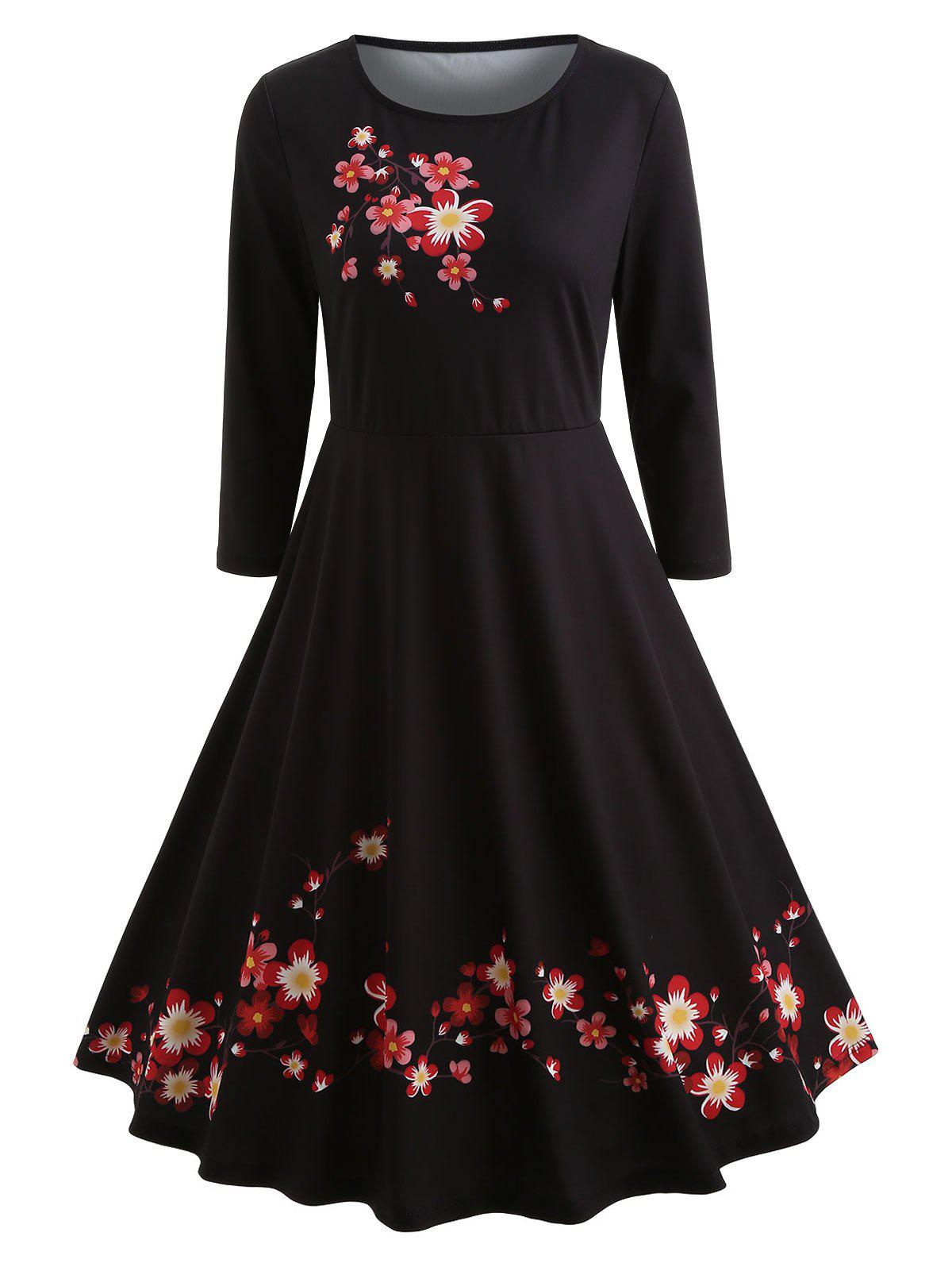 Floral Print Knee Length Vintage Dress - BLACK S