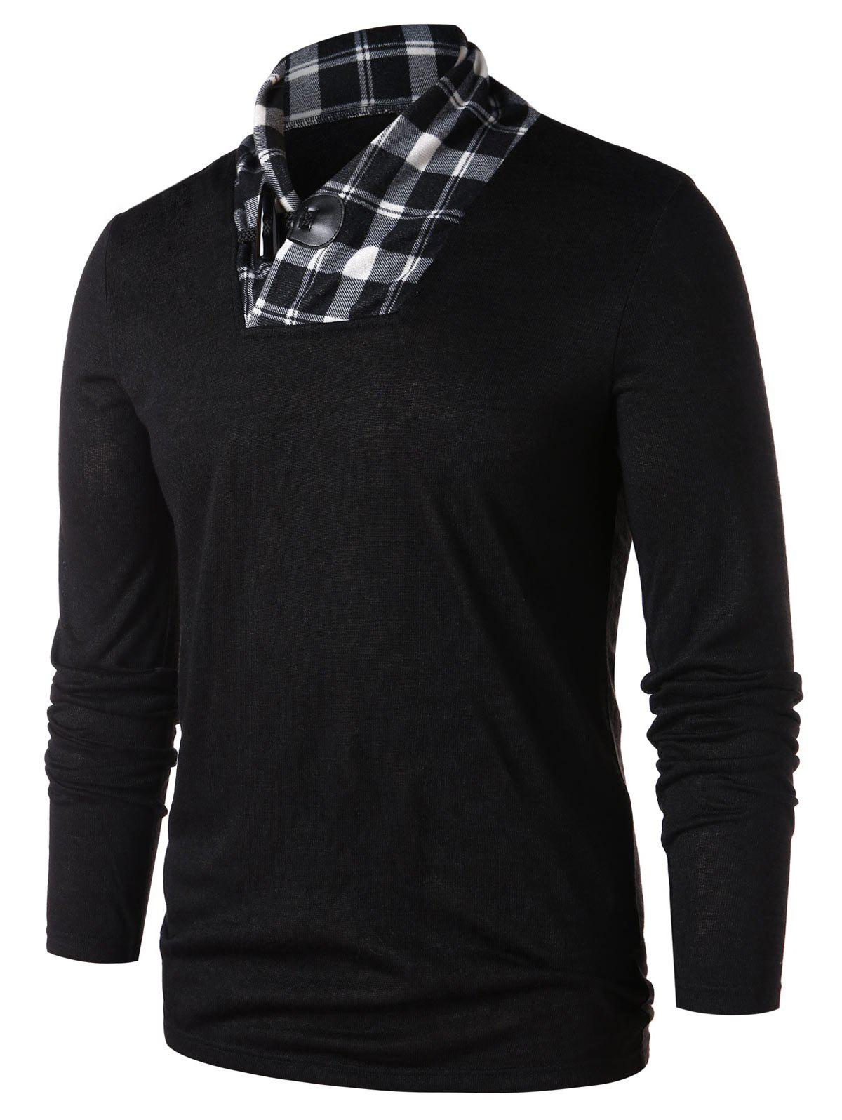 Shawl Collar Checked Panel T-shirt - BLACK XL