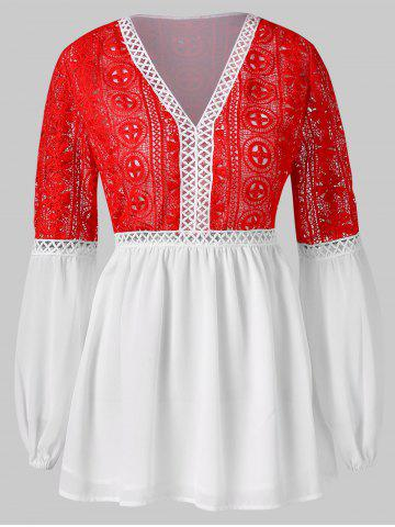 Puff Sleeve Two Tone Lace Crochet Blouse