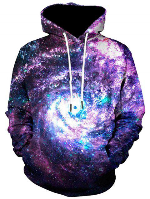 Kangaroo Pocket Galaxy Print Pullover Hoodie - COLORMIX L