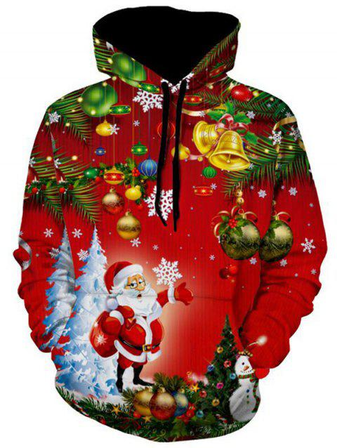 Christmas Tree Jingle Bells Santa Christmas Hoodie - multicolor L
