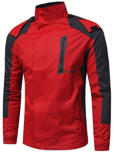 Hooded Color Block Zip Up Technical Jacket - RED XL