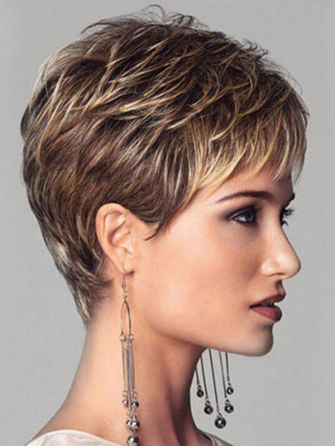 Side Bang Colormix Layer Short Straight Synthetic Wig - multicolor