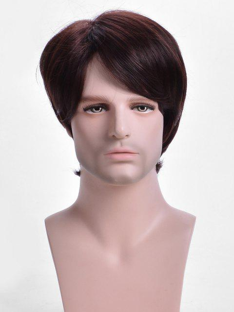Inclined Bang Short Straight Capless Synthetic Wig for Men - BROWN