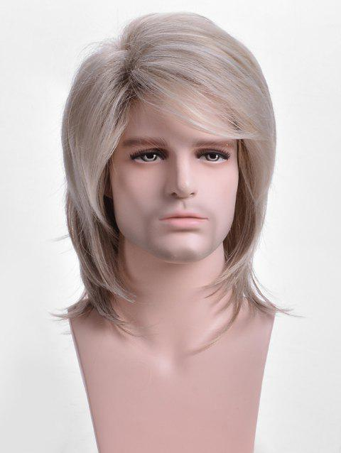 Short Side Bang Colormix Straight Synthetic Wig for Men - multicolor