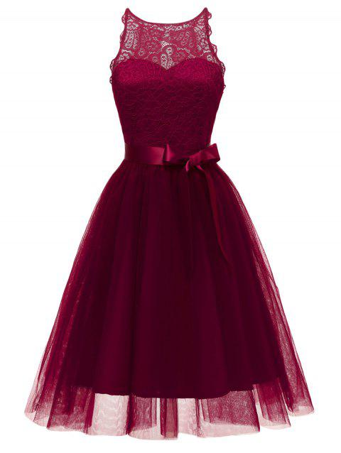 Lace Tulle Fit and Flare Cocktail Dress - RED WINE M