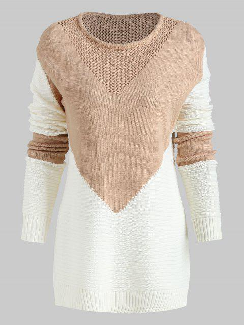Color Block High Low Sweater - LIGHT KHAKI ONE SIZE