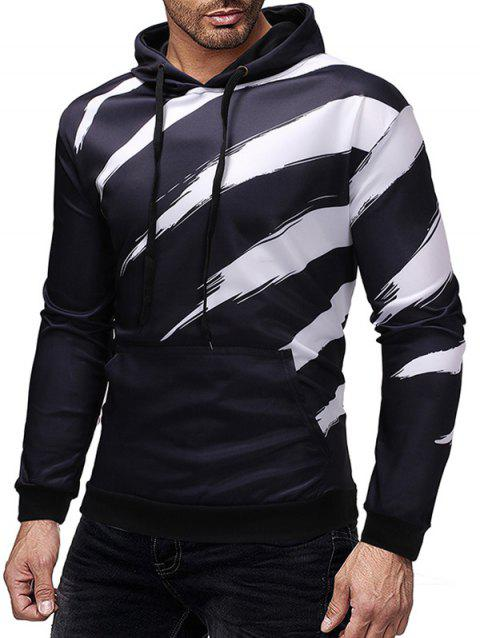 Kanga Pocket Paint Stripe Print Pullover Hoodie - BLACK M