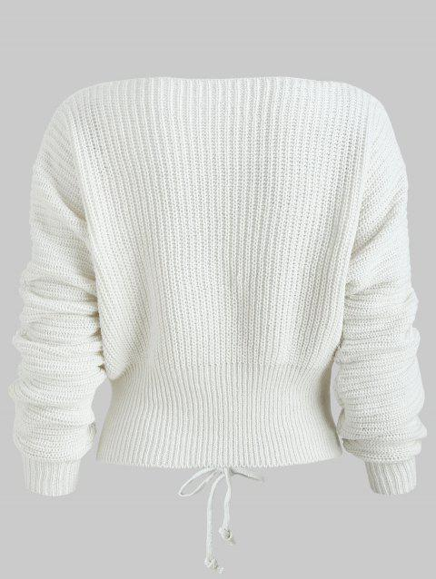 d254ac92c339 63% OFF] 2019 Batwing Sleeve Lace Up Sweater In WHITE | DressLily