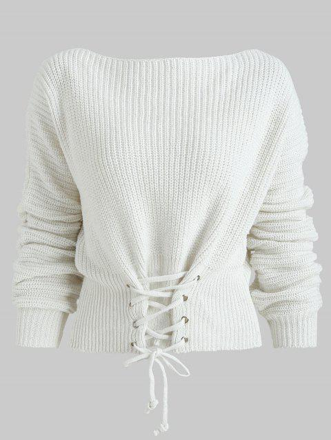 Batwing Sleeve Lace Up Sweater - WHITE ONE SIZE