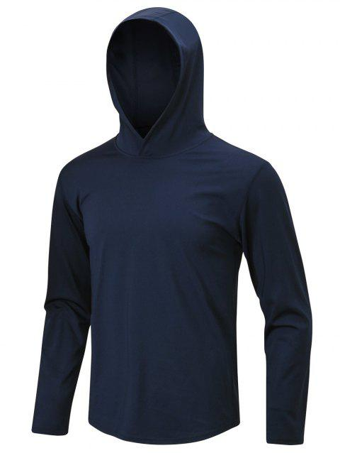 Solid Color Sport Pullover Hoodie - MIDNIGHT BLUE M
