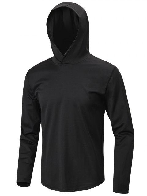 Solid Color Sport Pullover Hoodie - BLACK XL